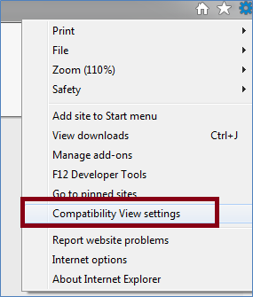 Click Compatibility View settings