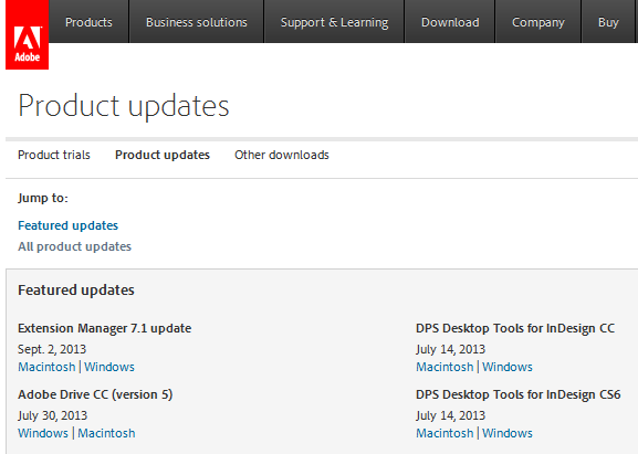Product Updates window