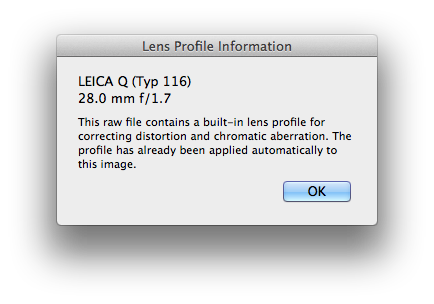 Lens profile information