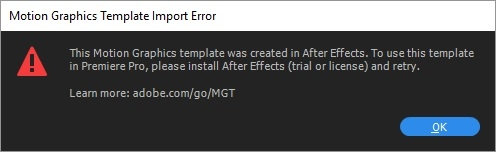 Mensaje de error al intentar utilizar plantillas de Motion Graphics