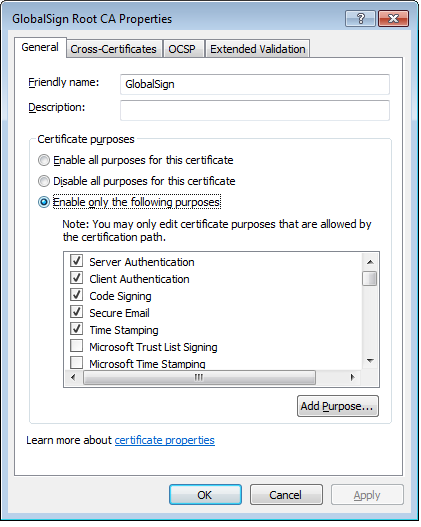 Verify that certificate is enabled