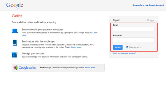 Sign in to Google Wallet
