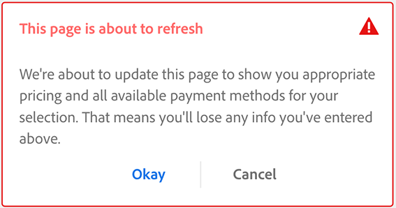 Prompt to refresh page