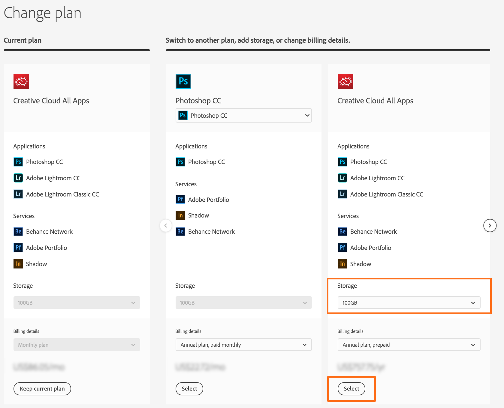 Select the Creative Cloud membership (Annual) plan