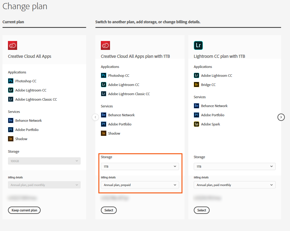 Choose the Creative Cloud Membership (one year, prepaid) plan
