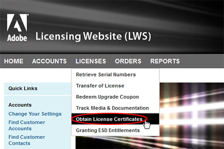 Choose Licenses, Obtain License Certificates
