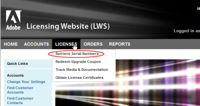 Choose Licenses, Retrieve Serial Numbers