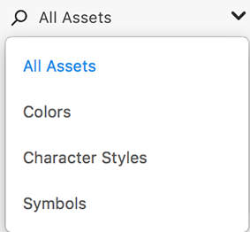 Filter assets in Adobe XD