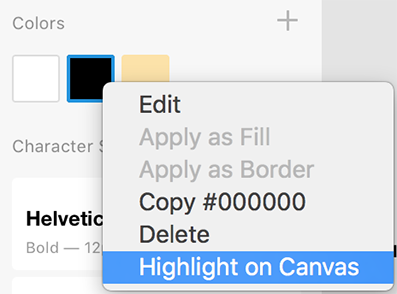 Highlight and find assets on the canvas