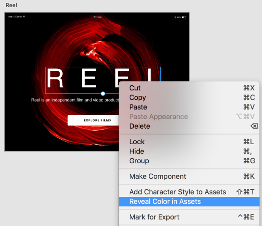 Reveal assets used in a selected object in Adobe XD