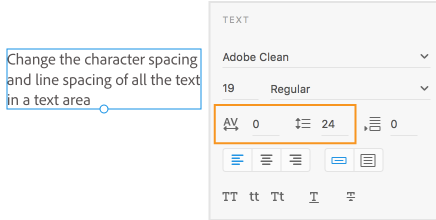 Changing the character and line spacing for text in a text object