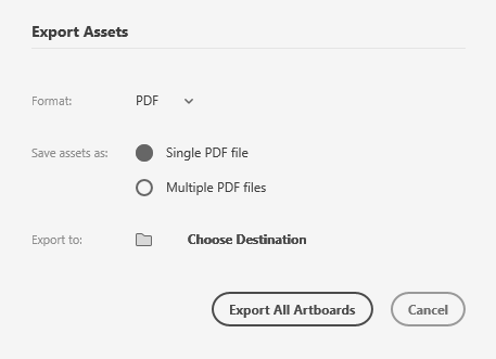 Export options when you export as PDF