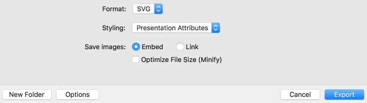 Export options when you export as SVG