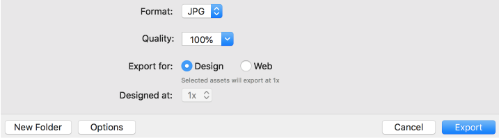 Export options when you export as JPG