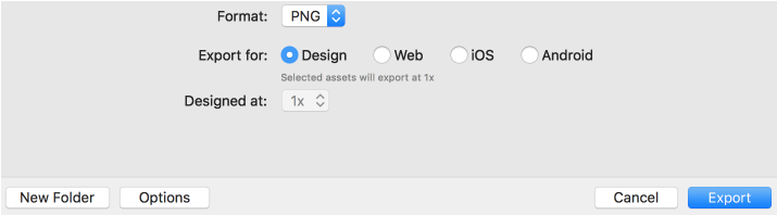 Export options when you export as PNG
