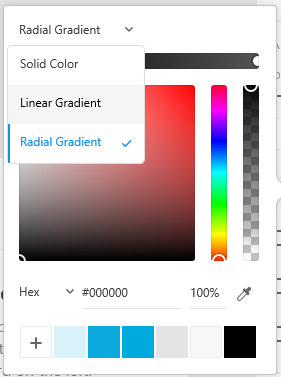 Linear and radial gradient options in the Color Picker