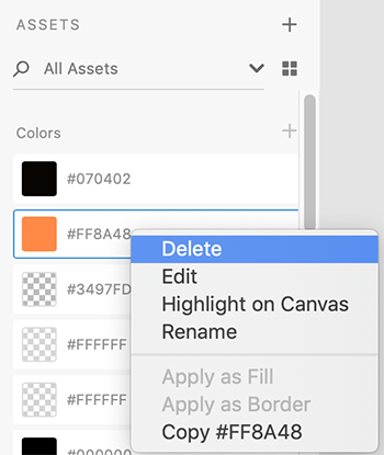 Delete linked color