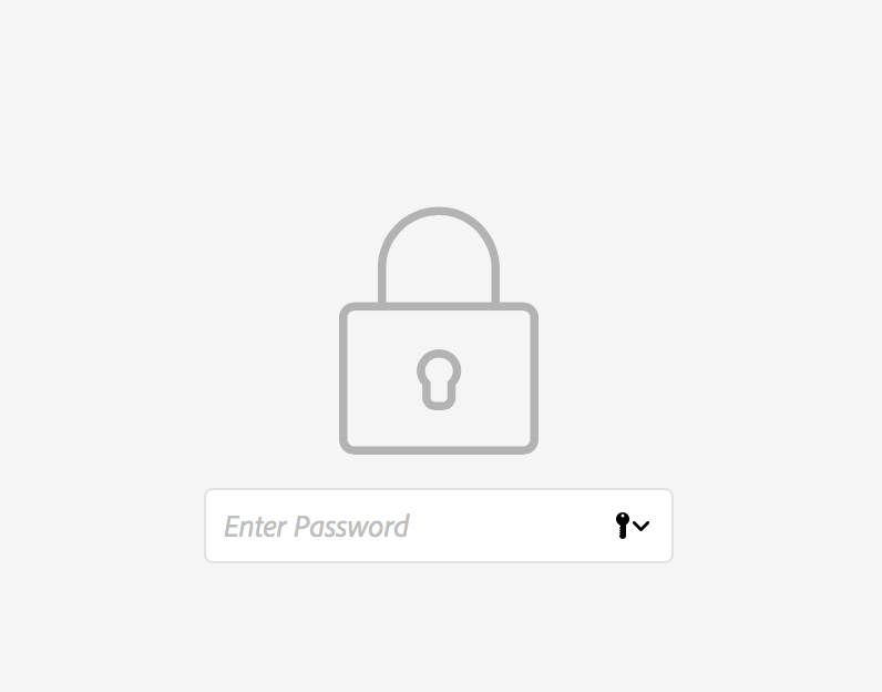 Entering a password to view a password protected prototype