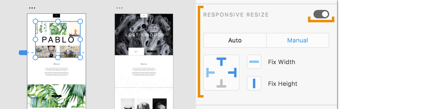 Switch on responsive resize, select Manual and view constraints
