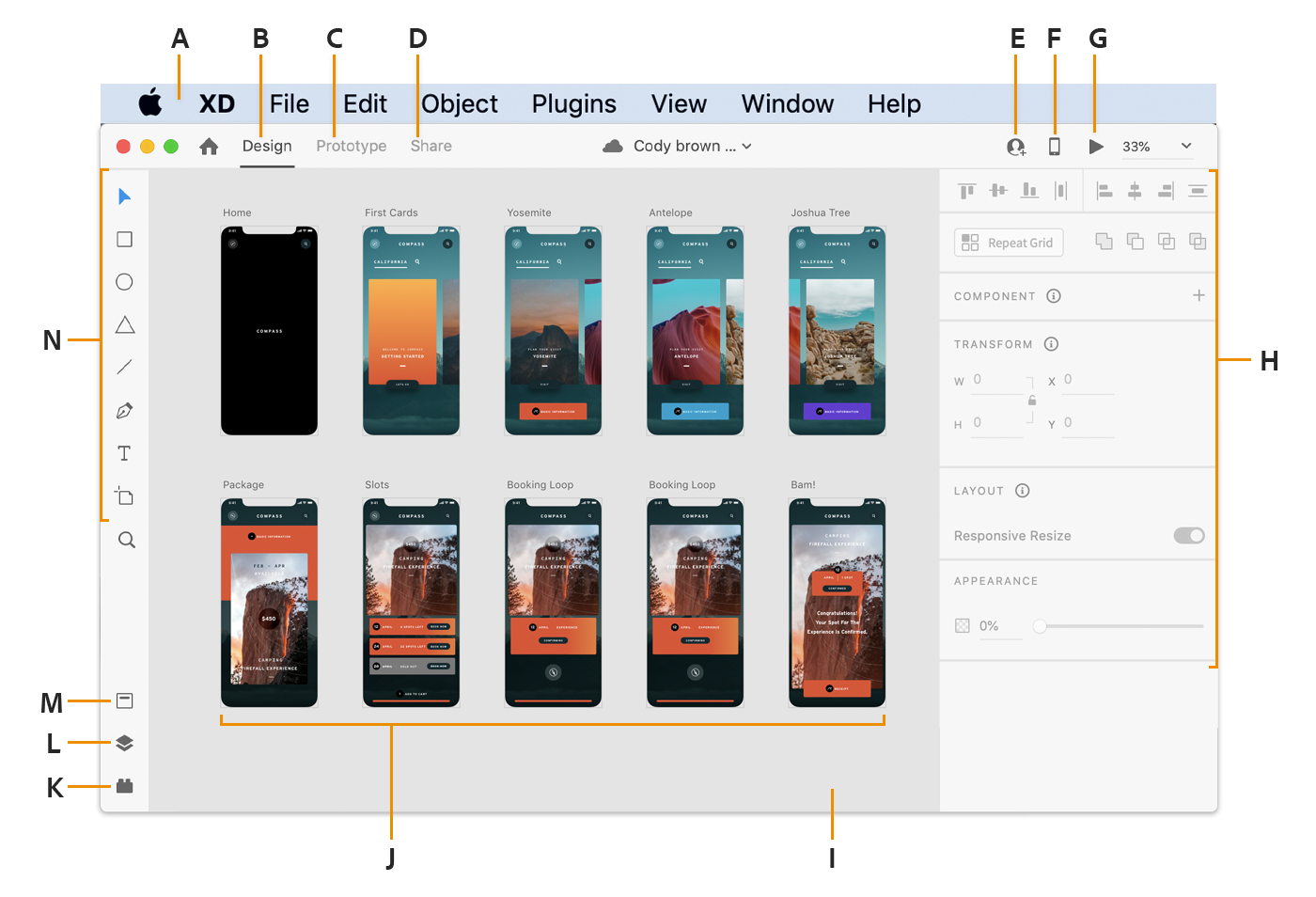Adobe XD workspace on Mac