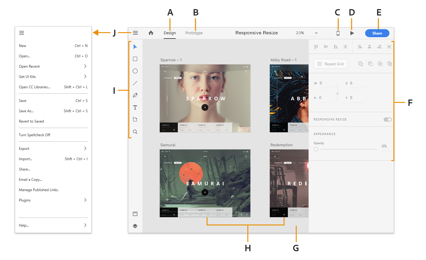 Adobe XD workspace on Windows