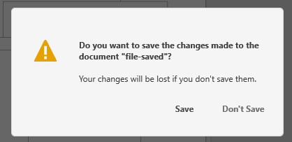 Save confirmation dialog