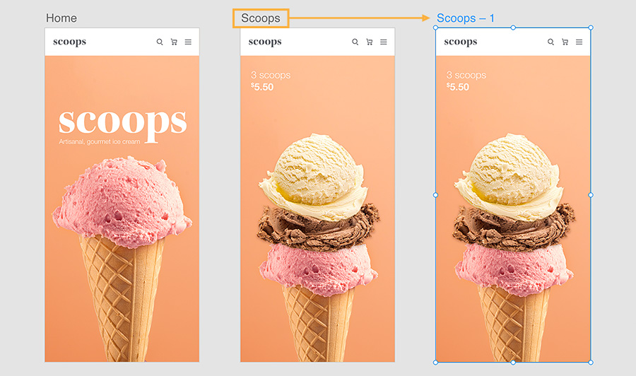 3 artboards for ice cream mobile app design. Ice cream cone with one or three scoops, 1st has title, 2nd and 3rd show price