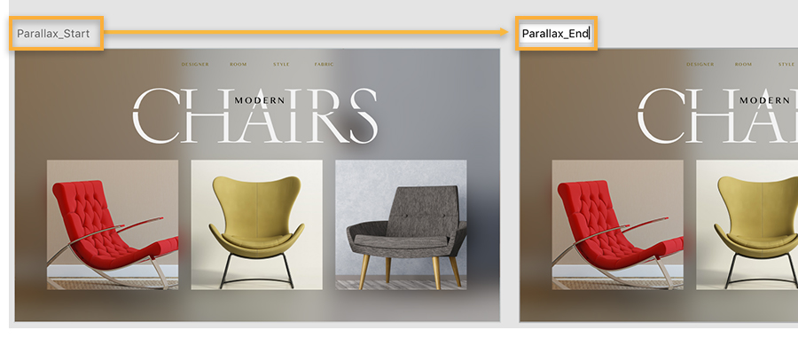 Two user experience design artboards show web design for furniture site, artboards are named Parallax Start and Parallax End.