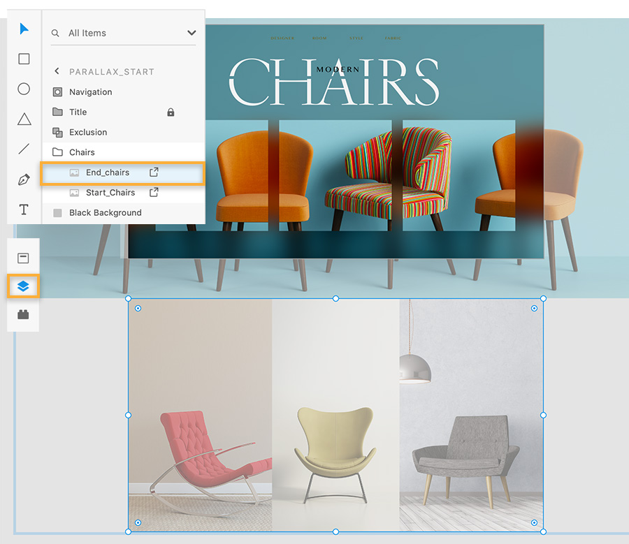 Adobe XD panel show two chair image layers, one with 4 chairs is on main artboard, one with 3 chairs is below the artboard.