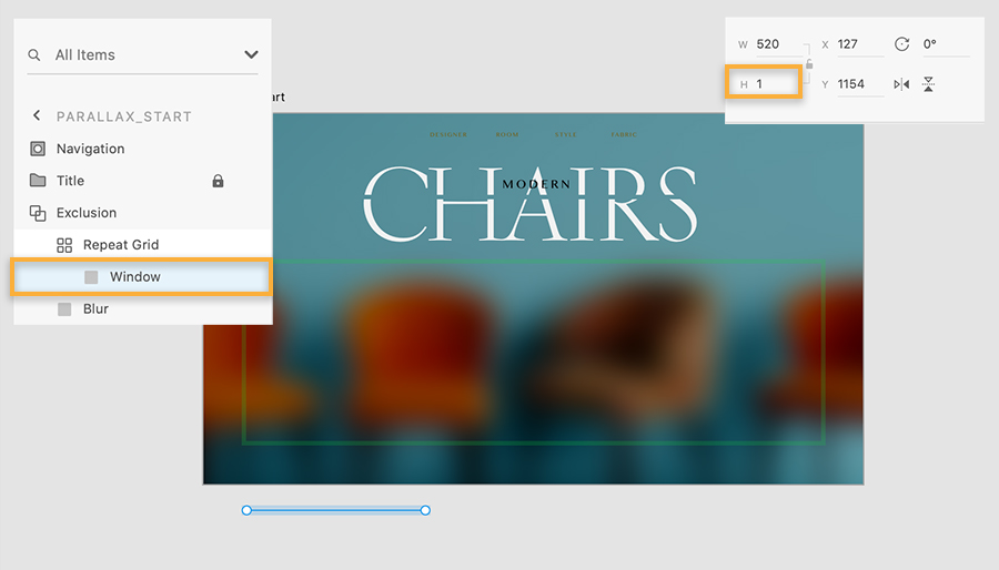 Layers panel shows Window layer shortened to 1 pixel and moved below artboard, the image with 4 chairs has blur effect.