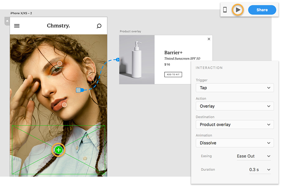 Blue dashed line from dot on model's cheek to product overlay, Property Inspector, and Desktop Preview highlighted