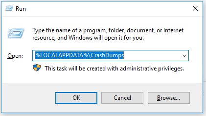 Navigate to CrashDumps folder