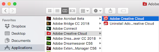 Launch Adobe Creative Cloud in macOS