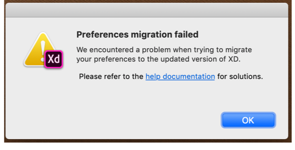 Preference migration failure notification