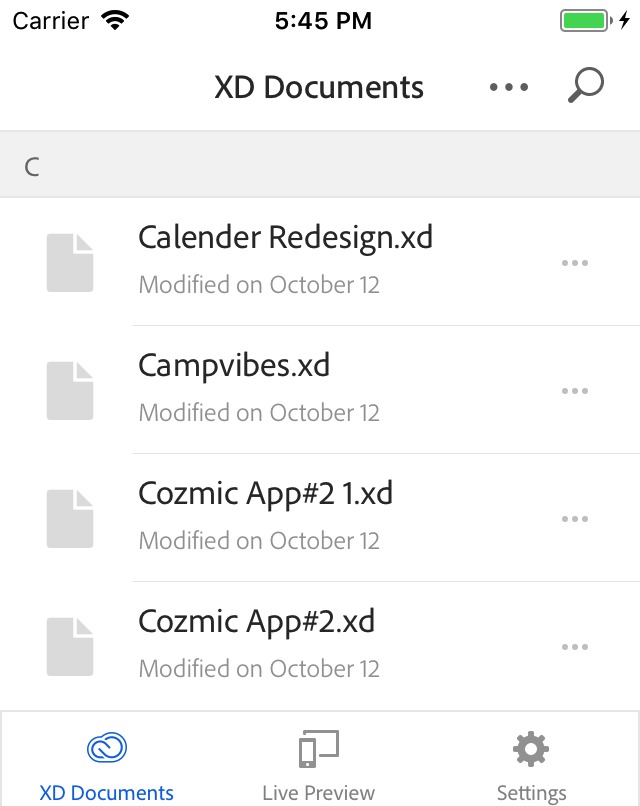 XD documents appearing with a gray icon when viewed on the XD mobile app