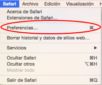 Preferencias de Safari