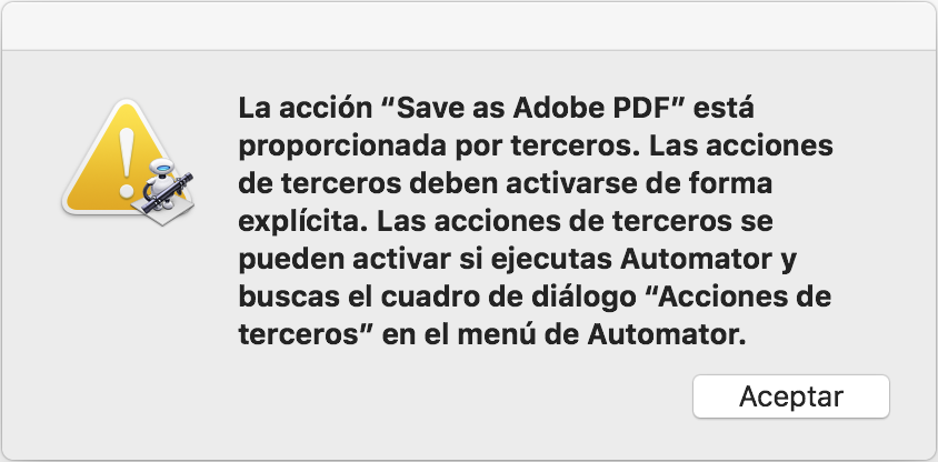 Error al guardar como Adobe PDF