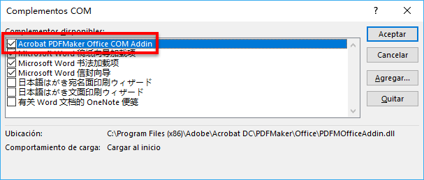 Complemento Acrobat PDFMaker Office COM