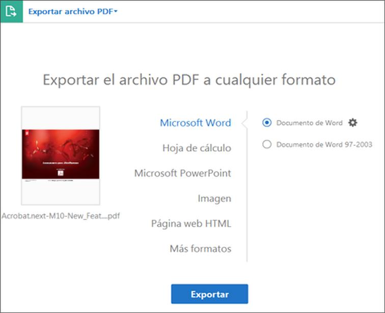 Conversión O Exportación De Pdf A Otros Formatos De Archivo Adobe Acrobat