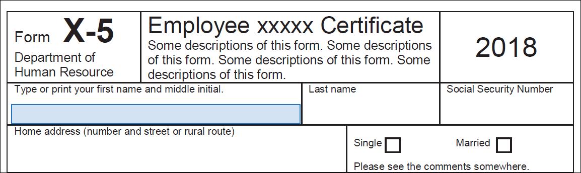 Pase el ratón por encima de un campo para que se muestre el campo de formulario detectado