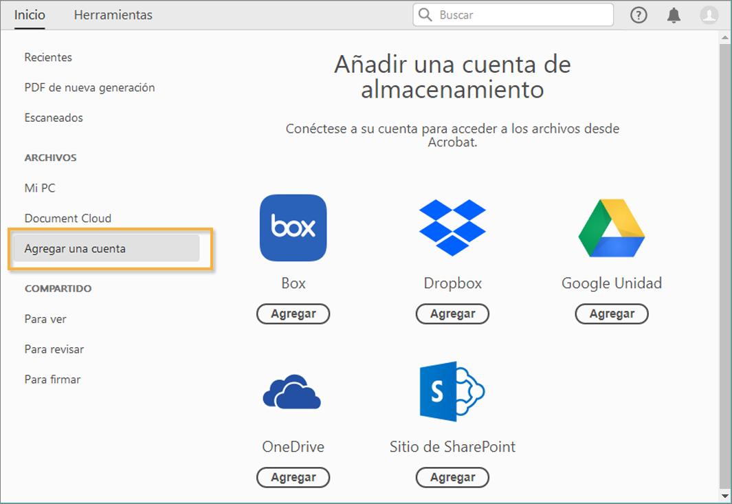 Conexión De Las Cuentas De Almacenamiento En Línea Para Acceder A Los Archivos De Acrobat Dropbox Sharepoint Onedrive Box Y Google Drive