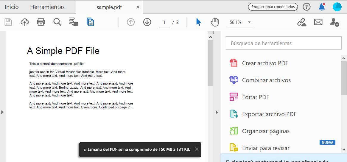 como puedo bajar de peso a un archivo pdf