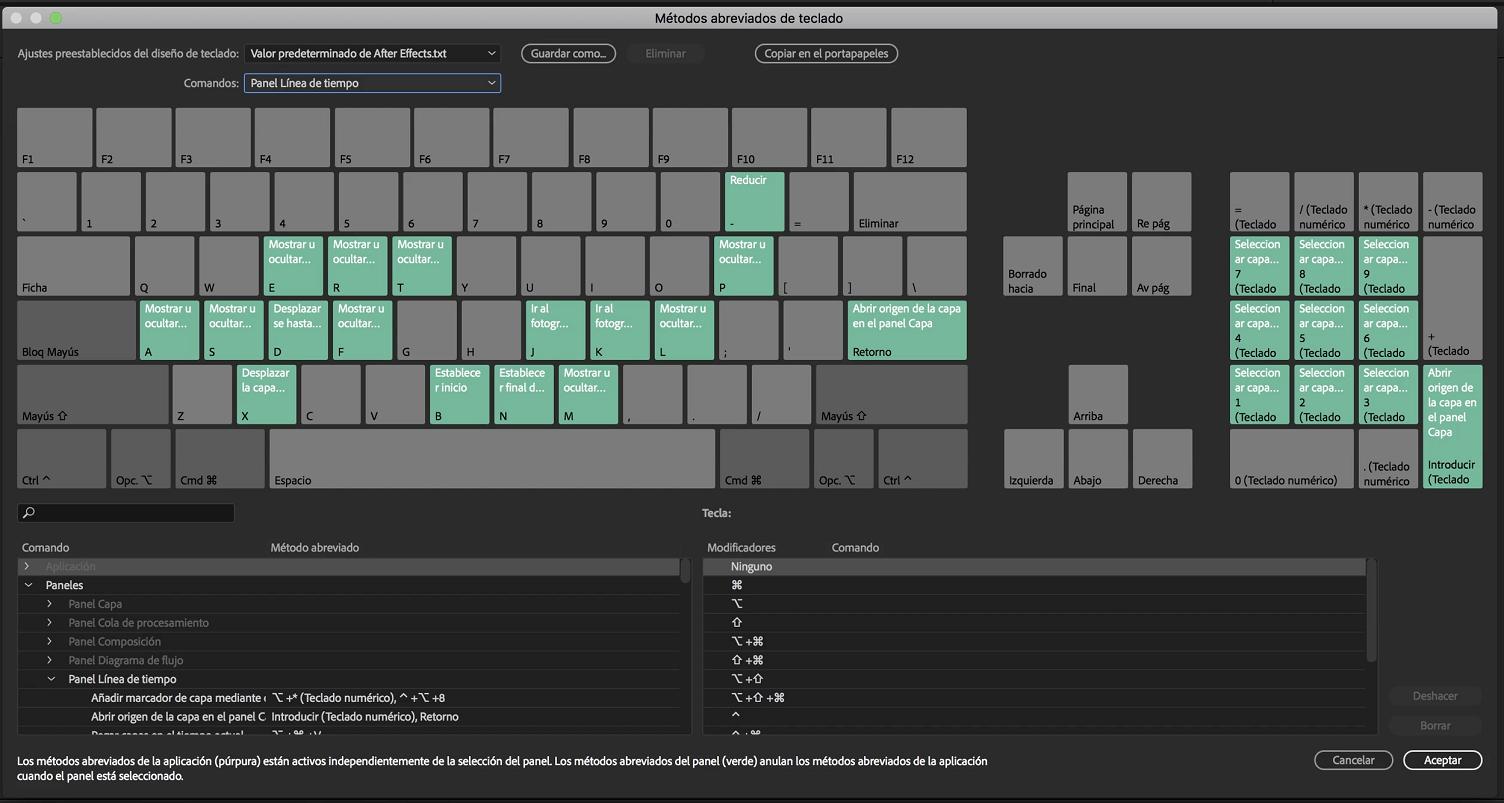 Referencia de métodos abreviados de teclado de After Effects