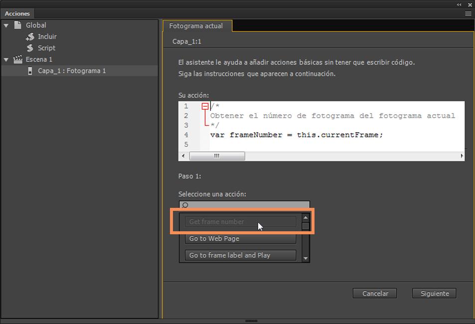 Utilización de ActionScript con Animate CC