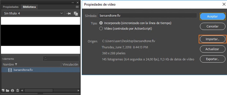 Añadir o incorporar vídeo en Adobe Animate CC