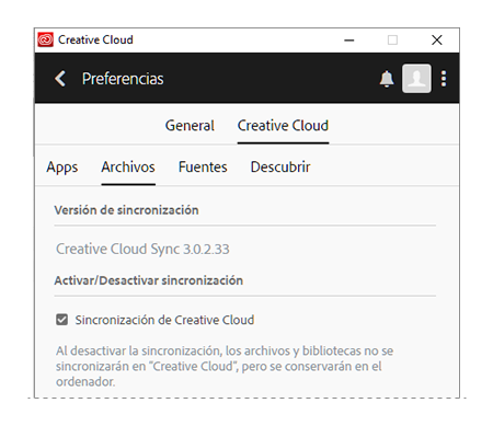 Activar la sincronización de Creative Cloud