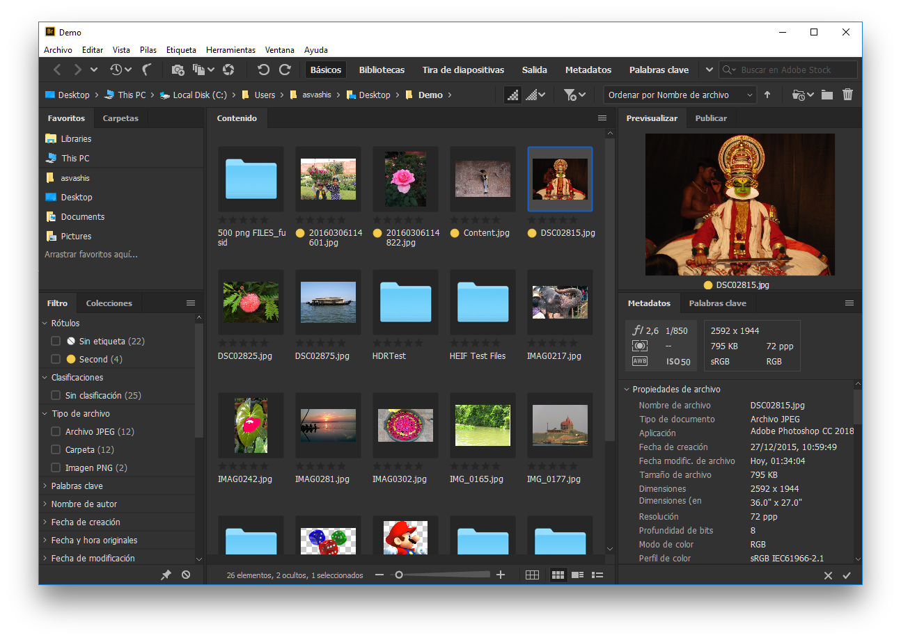 Interfaz de usuario de Adobe Bridge