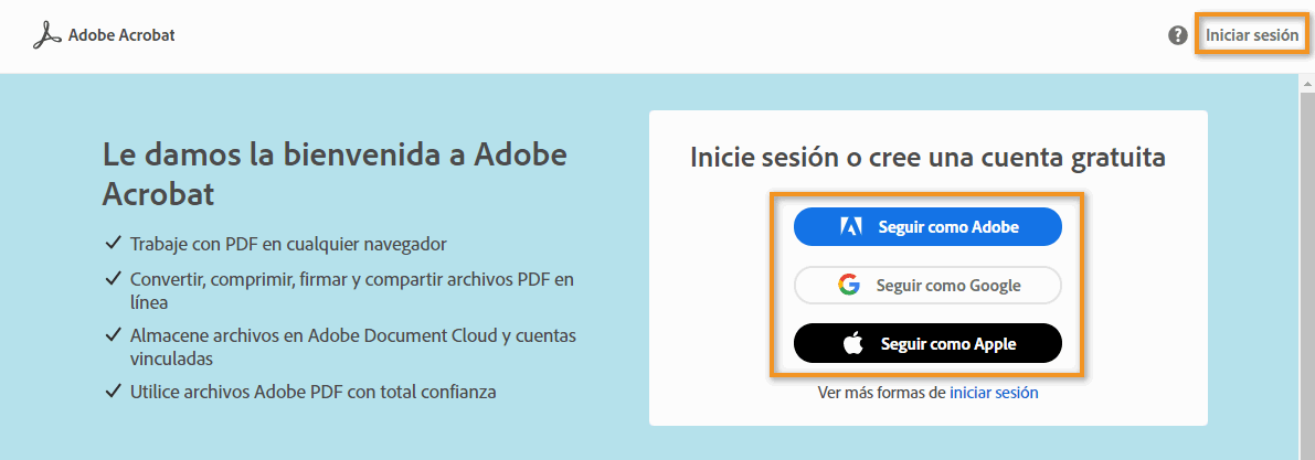 Iniciar sesión en Adobe Document Cloud