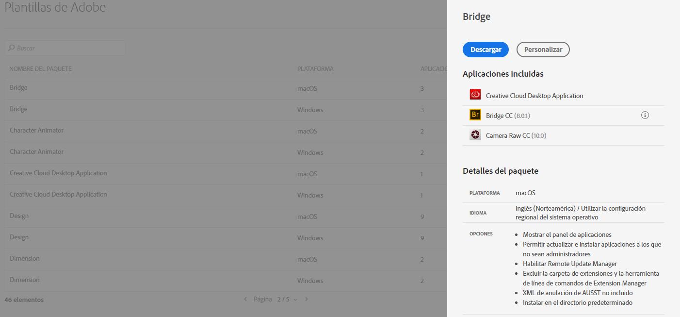 Plantillas de Adobe para paquetes