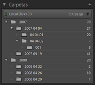Panel Carpetas en Lightroom Classic CC